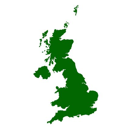 british isles: Isolated map of United Kingdom of England, Scotland, Wales and Northern Ireland.
