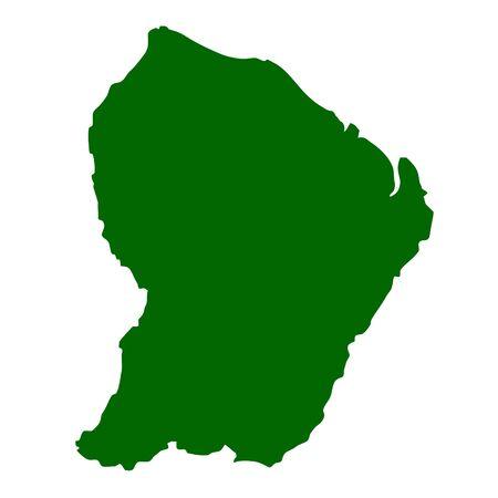 Mapa de la Guayana francesa aislada sobre fondo blanco.  Foto de archivo - 6125251