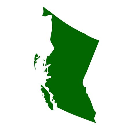 Map of British Columbia province or territory in Canada, isolated on white background.