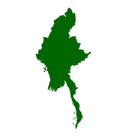 birma: Burma or Myanmar map isolated on white background. Stockfoto