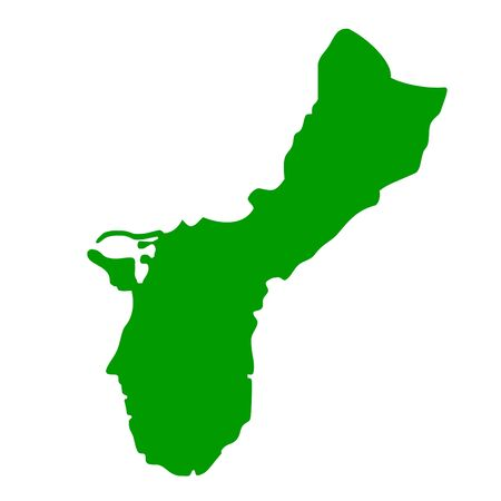 guam: Map of Guam Island, isolated on white background.