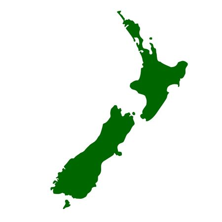 new zealand: Map of New Zealand, isolated on white background.