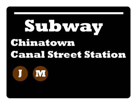chinatown: Chinatown Canal Street station subway sign isolated on white background, New York City, U.S.A.