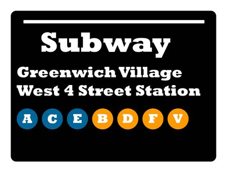 greenwich: Greenwich Village West 4 street station subway sign isolated on white background, New York City, U.S.A. Stock Photo