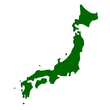 Japan map isolated on white background.