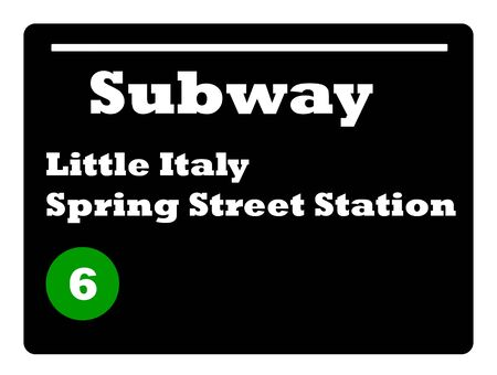 subway station: Little Italy Spring Street subway station sign isolated on white background, New York City, U.S.A. Stock Photo