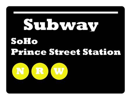 soho: Soho Prince Street station subway sign isolated on white background, New York City, U.S.A. Stock Photo