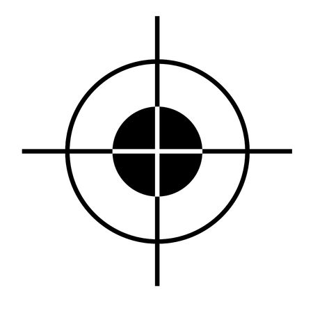 Sniper rifle target cross hairs silhouetted on white  background.