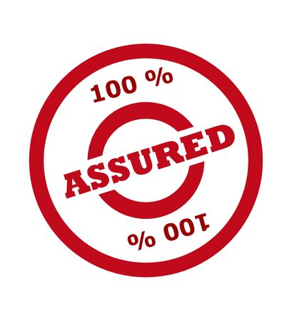 assured: 100 percent assured stamp in red circle, isolated on white background.