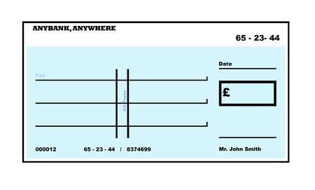 chequebook: Blank English Cheque illustration with copy space, isolated on white background.