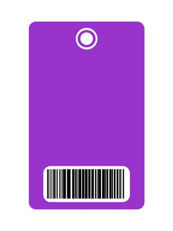 select all: Closeup of blank security pass with bar code, isolated on white background.
