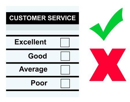 questionaire: Formulario de servicio de cliente en blanco o cuestionario con cajas vac�as, la marca de verificaci�n y la Cruz, aislado sobre fondo blanco.