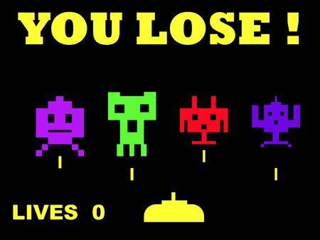 space invaders game: Illustration of you lose space invaders retro game over, isolated on black background.