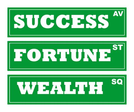 Success, fortune and wealth road signs, isolated on white background. photo