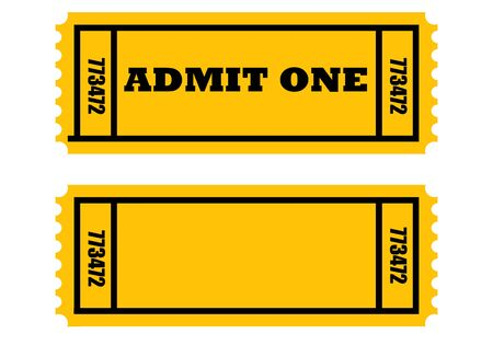 admittance: Illustration of two cinema or movie tickets, front and back, isolated on white background.