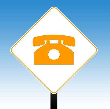 phoning: Telephone communications road sign with directional arrow, blue sky background.