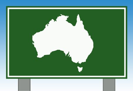 Australia road sign with copy space and blue sky background. photo