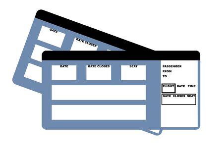 boarding card: Illustrazione di due biglietti di viaggio vuoto, isolato su sfondo bianco.