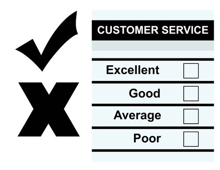 questionaire: Formulario de comentarios en servicio al cliente en blanco, aislado sobre fondo blanco.
