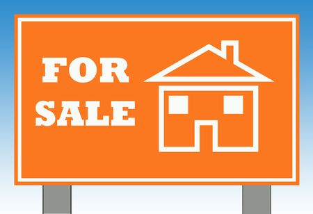 Home for sale road sign with copy space and blue sky background. photo