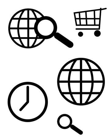 worldwide web: World wide web y el equipo de b�squeda iconos, aislados sobre fondo blanco.