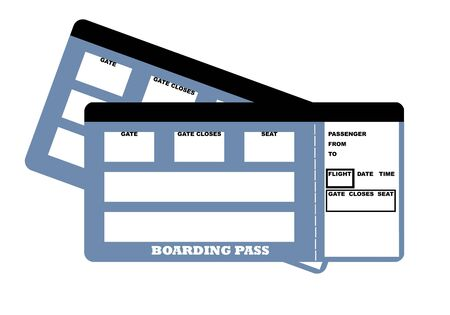 Illustration of two blank travel tickets, isolated on white background. Standard-Bild