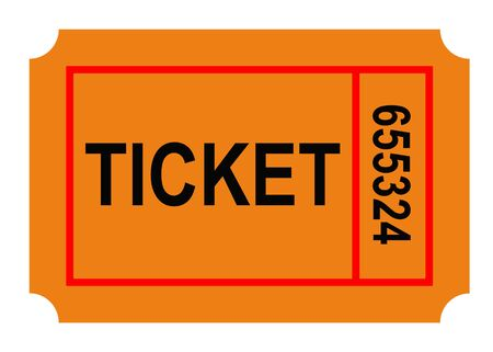 Illustration of numbered ticket, isolated on white background.