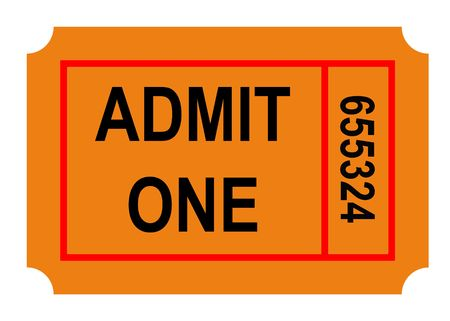 Illustration of admit one numbered ticket, isolated on white background. Stock fotó - 6419610