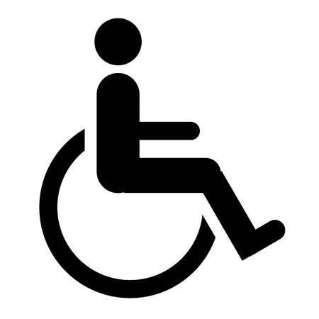 infirm: Silhouette of disabled person in wheelchair symbol or sign isolated on white background.