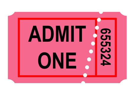 admittance: Illustration of admit one perforated ticket, isolated on white background.