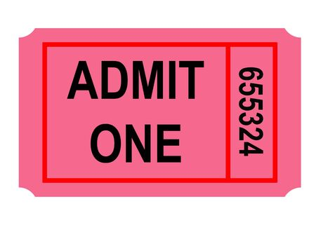 Illustration of admit one numbered ticket, isolated on white background. Stock fotó - 6419611