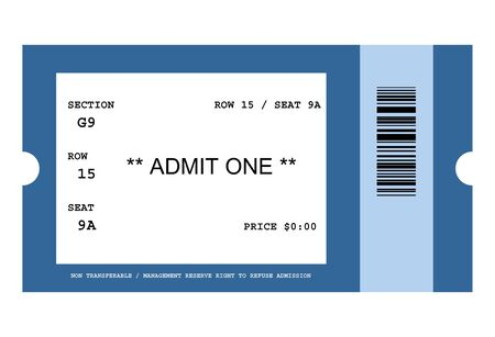 admittance: Illustration of ticket for event with bar code, isolated on white background.