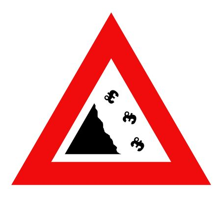 pounds: Falling English pounds Sterling currency sign in red warning triangle, isolated on white background.