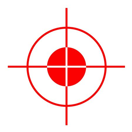 Red gun sight cross hairs, isolated on white background.
