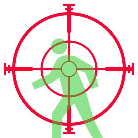 狙撃兵のライフルの視力またはスコープの白い背景で隔離された人間のターゲットを目指してのイラスト。