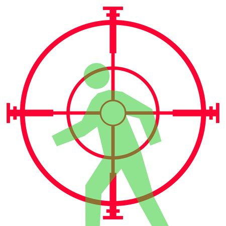 weaponry: Illustration of sniper rifle sight or scope aiming at human target, isolated on white background.