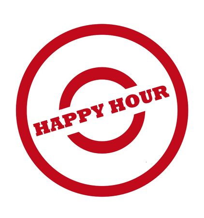 shopping binge: Happy hour stamp in red circle, isolated on white background.