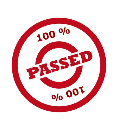 passed stamp: 100 percent passed stamp in red circle, isolated on white background. Stock Photo