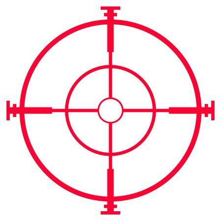 白い背景で隔離の狙撃ライフルの視力またはスコープ、イラスト。