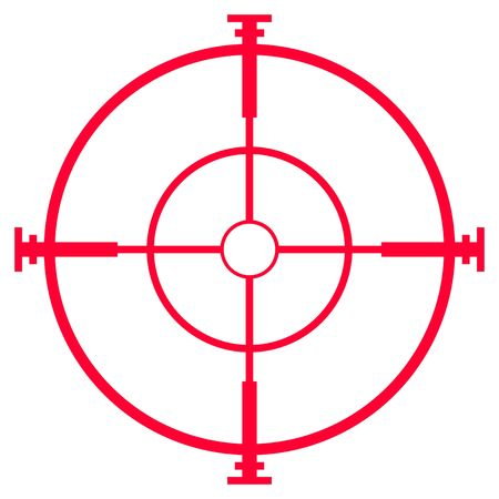 Illustration of sniper rifle sight or scope, isolated on white background.