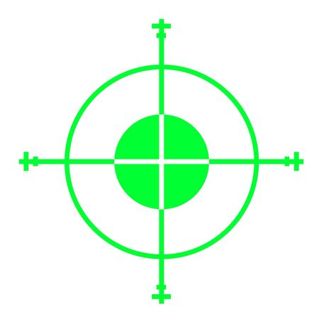 gun sight: Green sniper gun sight cross hairs, isolated on white background.