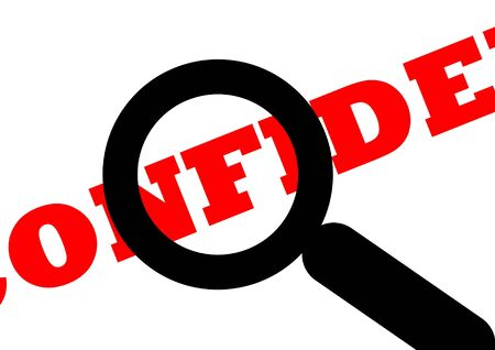 snooping: Confidential document viewed under spy of magnifying glass, isolated on white background. Stock Photo