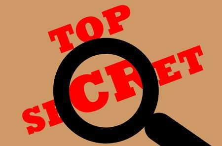 zoomed: Illustration of top secret document under magnifying glass, isolated on brown background.