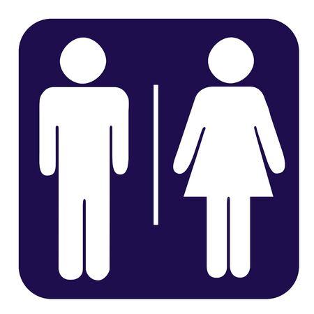 latrina: Uomini e donne pulsante WC isolato su sfondo bianco.  Archivio Fotografico
