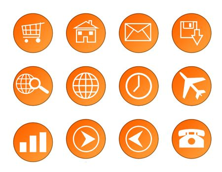Set of orange circular business icons isolated on white background. photo