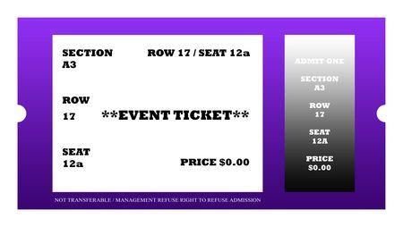Illustration of event ticket isolated on white background. Stock Illustration - 6584189