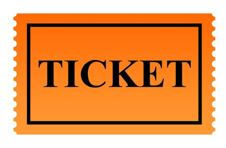 clipped: Orange serrated ticket isolated on white background. Stock Photo