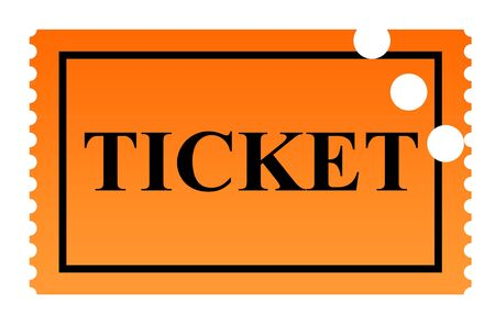 punched: Orange serrated punched ticket isolated on white background. Stock Photo