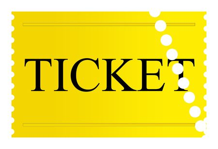 Used golden ticket isolated on a white background. Stock Photo