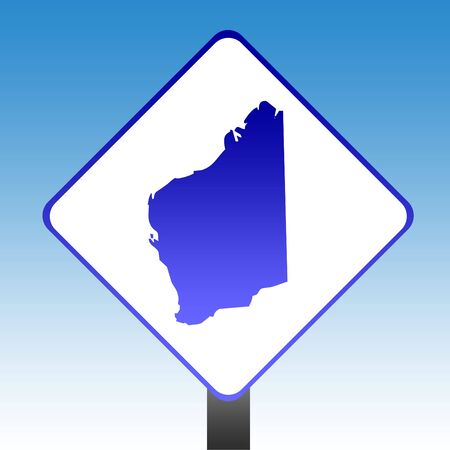Australia state of Western Australia road sign with blue sky background. photo